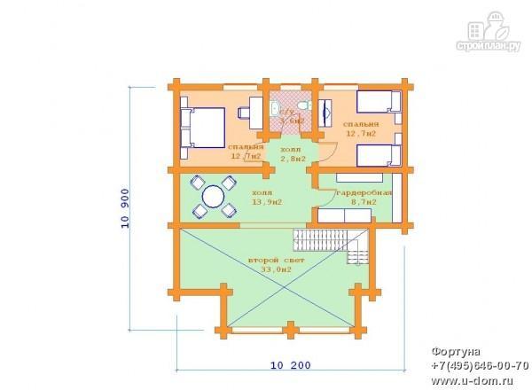 Фото 6: проект бревенчатый дом с двумя террасами и вторым светом