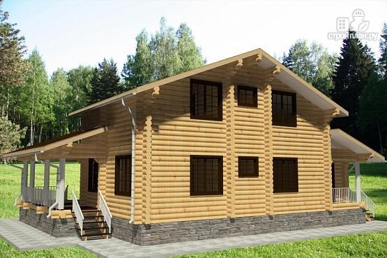 Фото 3: проект бревенчатый дом с двумя террасами и вторым светом