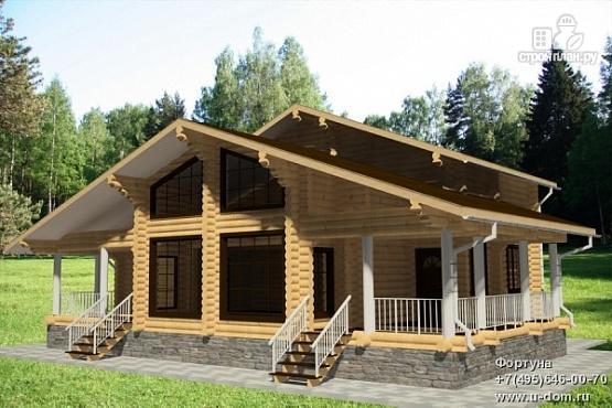 Фото: проект бревенчатый дом с двумя террасами и вторым светом
