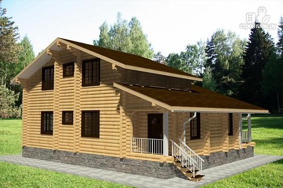 Фото 2: проект бревенчатый дом с двумя террасами и вторым светом