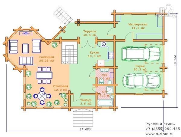 Фото 2: проект дом из бревна с двумя балконами, террасой и гаражом на две машины