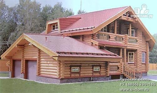 Фото: проект дом из бревна с двумя балконами, террасой и гаражом на две машины