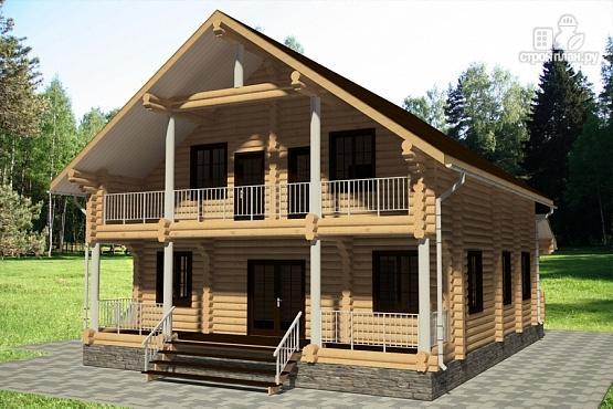 Фото 3: проект дом 12х13 из бревна с балконом и террасой