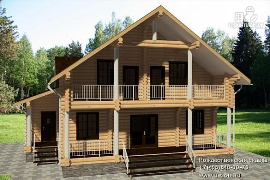 Фото: проект дом 12х13 из бревна с балконом и террасой