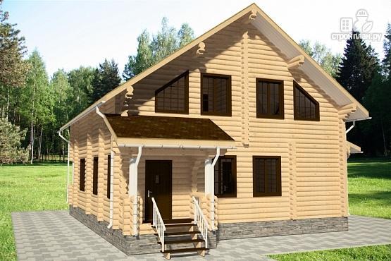 Фото 4: проект дом 12х13 из бревна с балконом и террасой