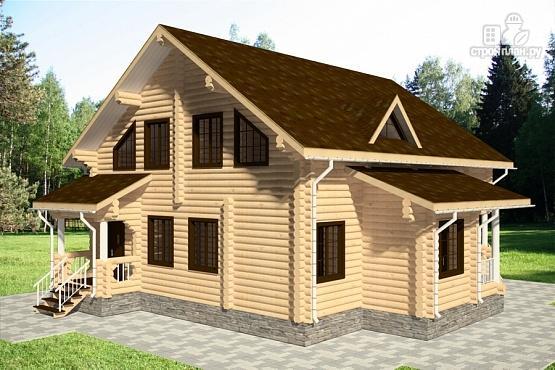 Фото 2: проект дом 12х13 из бревна с балконом и террасой