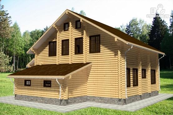Фото 4: проект дом из бревна с террасой, гаражом и двухсветной гостиной