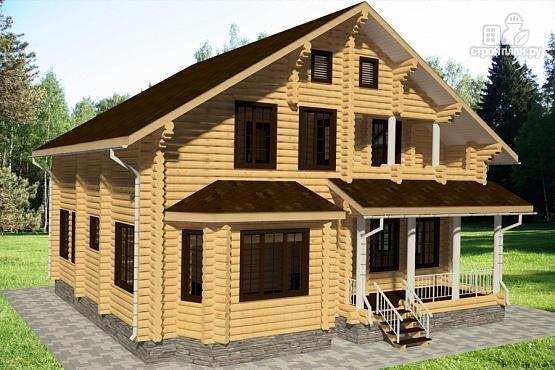 Фото 2: проект дом из бревна с террасой, гаражом и двухсветной гостиной