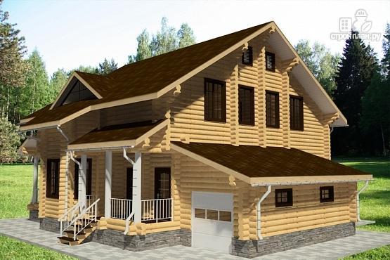 Фото 3: проект дом из бревна с террасой, гаражом и двухсветной гостиной