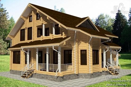 Фото: проект дом из бревна с террасой, гаражом и двухсветной гостиной