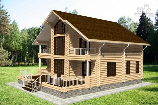 Фото 2: проект дом из бревна с террасой и балконами
