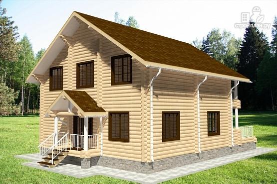 Фото 3: проект дом из бревна с террасой и балконами