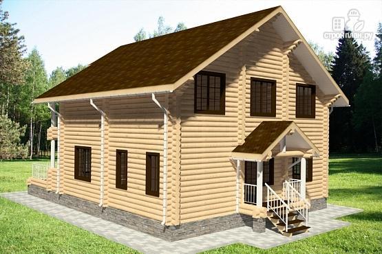 Фото 4: проект дом из бревна с террасой и балконами