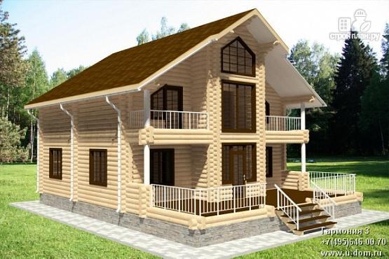 Фото: проект дом из бревна с террасой и балконами