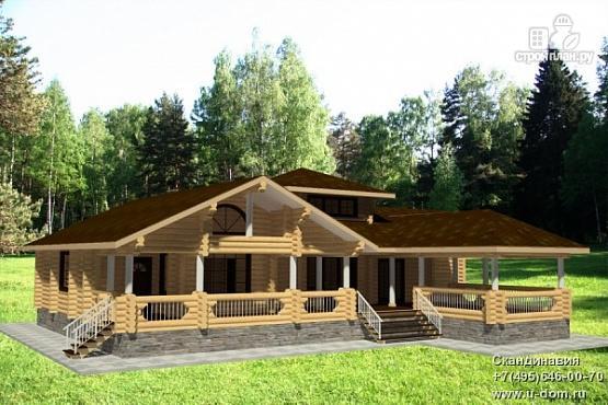 Фото: проект дом 15х19 из бревна с огромной террасой и парной