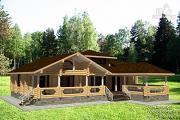 Фото: дом 15х19 из бревна с огромной террасой и парной
