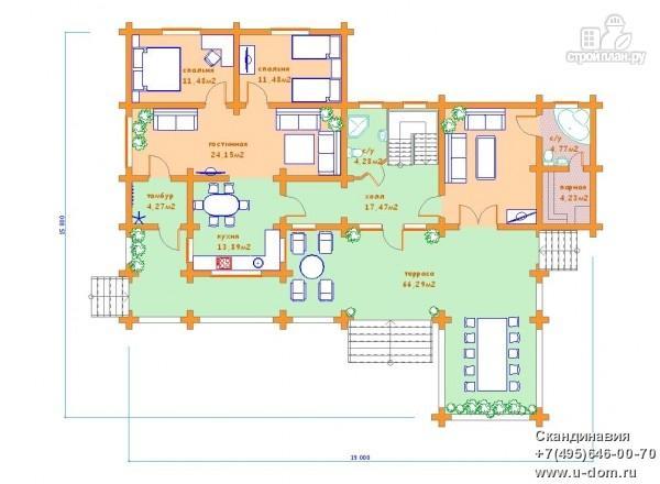 Фото 5: проект дом 15х19 из бревна с огромной террасой и парной