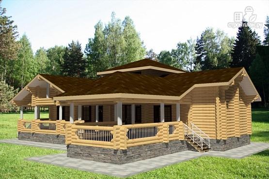 Фото 4: проект дом 15х19 из бревна с огромной террасой и парной