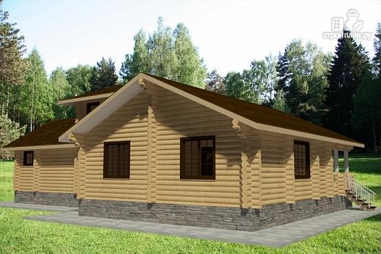 Фото 3: проект дом 15х19 из бревна с огромной террасой и парной