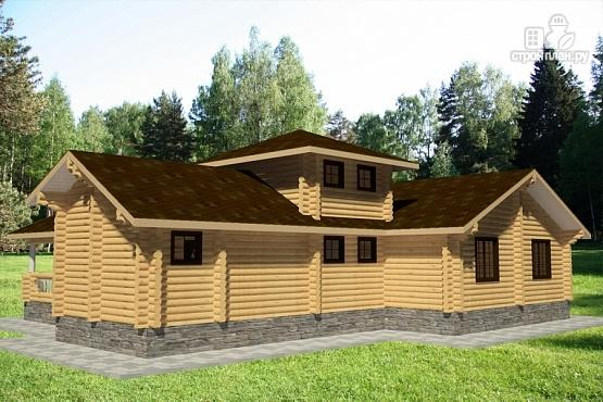 Фото 2: проект дом 15х19 из бревна с огромной террасой и парной