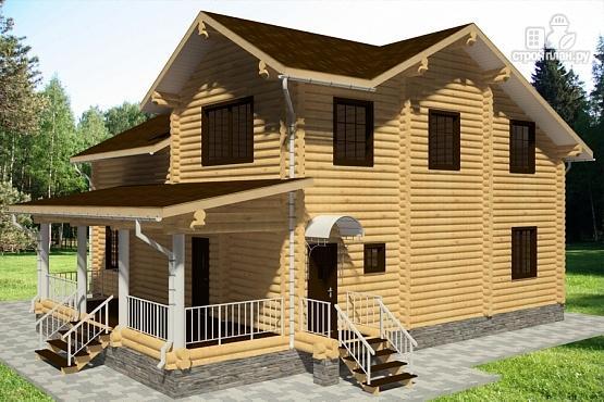 Фото 3: проект дом из бревна с террасой, балконом и двухсветной гостиной