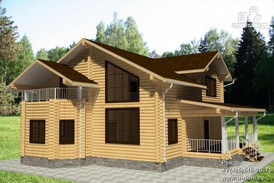 Фото: проект дом из бревна с террасой, балконом и двухсветной гостиной