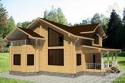 Проект дом из бревна с террасой, балконом и двухсветной гостиной