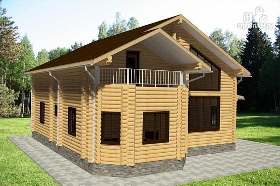 Фото 2: проект дом из бревна с террасой, балконом и двухсветной гостиной