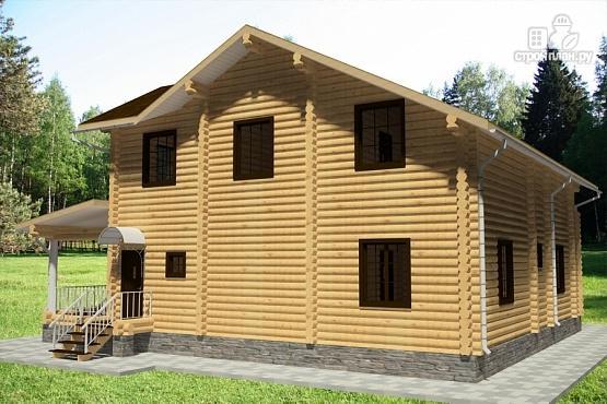 Фото 4: проект дом из бревна с террасой, балконом и двухсветной гостиной
