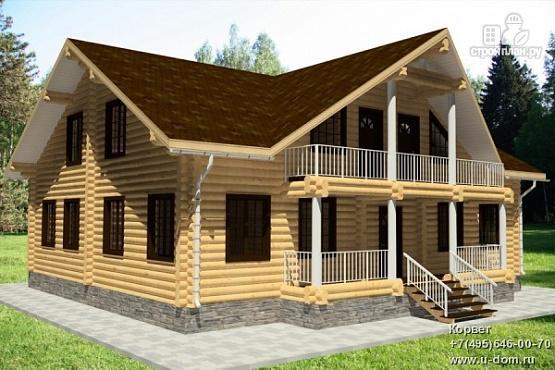 Фото: проект бревенчатый дом с террасой и балконом