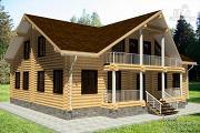 Проект бревенчатый дом с террасой и балконом