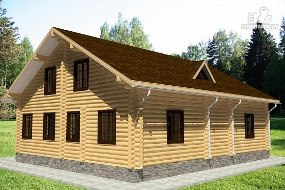 Фото 3: проект бревенчатый дом с террасой и балконом