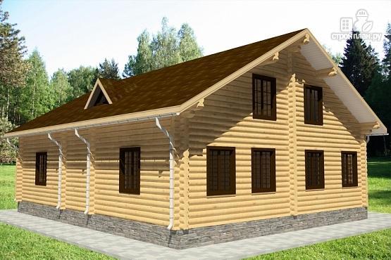 Фото 4: проект бревенчатый дом с террасой и балконом