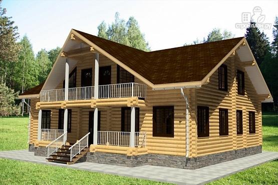 Фото 2: проект бревенчатый дом с террасой и балконом