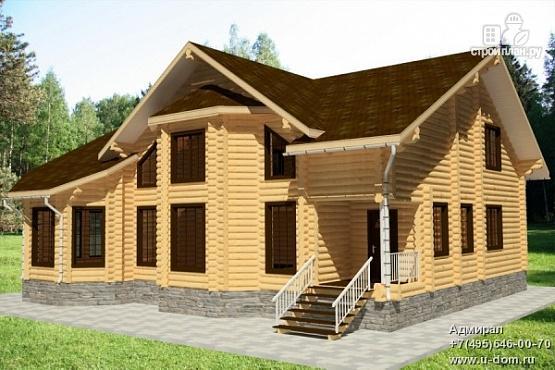 Фото: проект дом из бревна с балконом, вторым светом и зимним садом