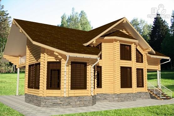 Фото 4: проект дом из бревна с балконом, вторым светом и зимним садом