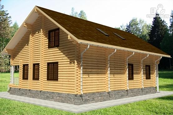 Фото 3: проект дом из бревна с балконом, вторым светом и зимним садом