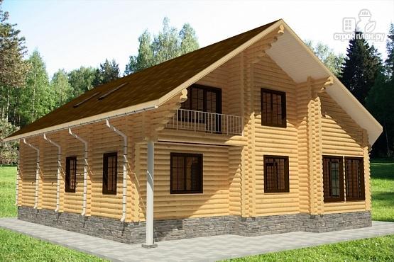 Фото 2: проект дом из бревна с балконом, вторым светом и зимним садом