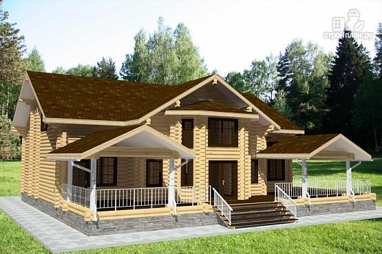 Фото 4: проект бревенчатый дом с балконом, террасой и вторым светом