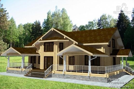 Фото: проект бревенчатый дом с балконом, террасой и вторым светом