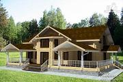 Проект бревенчатый дом с балконом, террасой и вторым светом