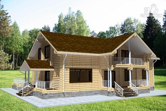 Фото 2: проект бревенчатый дом с балконом, террасой и вторым светом