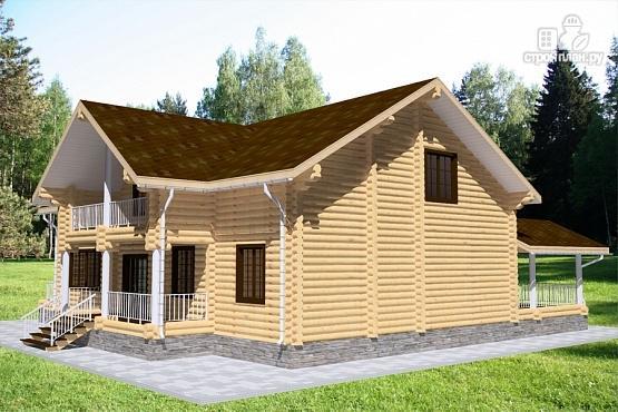 Фото 3: проект бревенчатый дом с балконом, террасой и вторым светом
