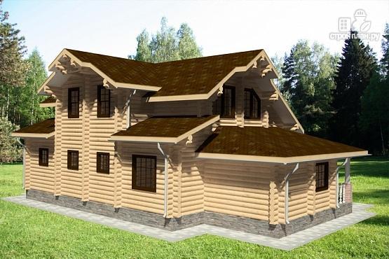 Фото 4: проект бревенчатый дом с террасой