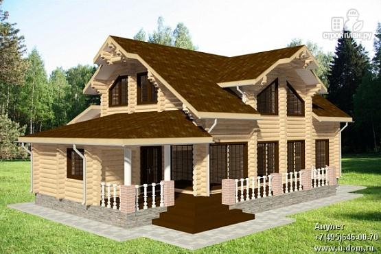 Фото: проект бревенчатый дом с террасой