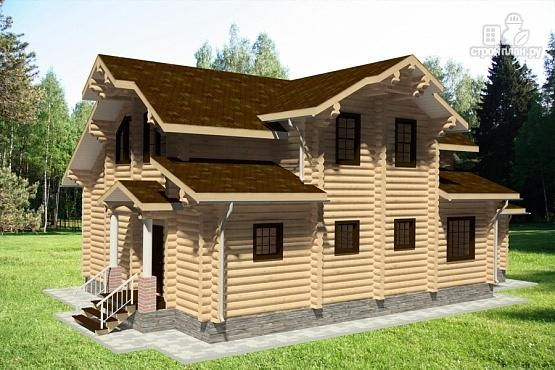 Фото 3: проект бревенчатый дом с террасой