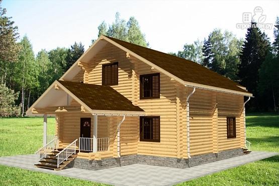 Фото 3: проект дом из бревна с балконом и террасой
