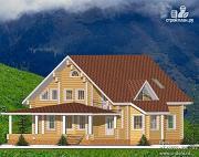 Проект дом из бревна с балконом и большой террасой