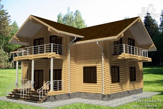 Фото: проект дом из бревна с тремя балконами