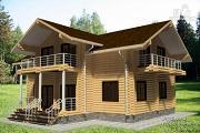Фото: дом из бревна с тремя балконами
